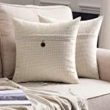 MIULEE Set of 2 Decorative Linen Throw Pillow Covers Cushion Case Button Vintage Farmhouse Pillowcase for Couch Sofa Bed 18 x 18 Inch 45 x 45 cm Beige