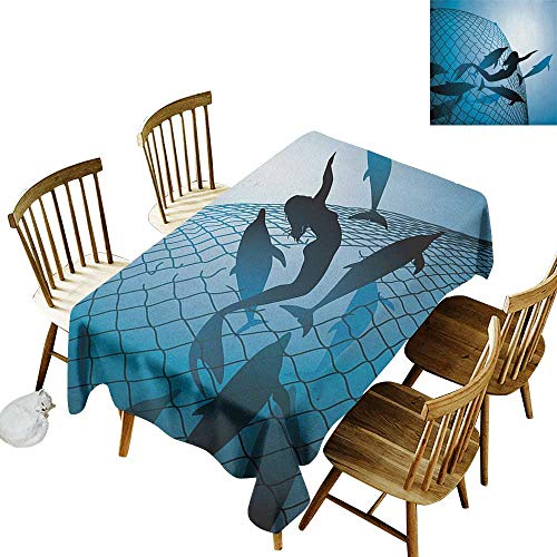 kangkaishi Leakproof Polyester Long Tablecloth Outdoor and Indoor use A Mermaid Rescues Flight of Dolphins from a Fishing Net Freedom Diver Artwork Print W70 x L120 Inch Blue