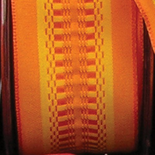 Orange Taffeta with Yellow Woven Print Wired Craft Ribbon 1.5