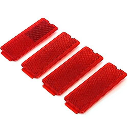 (4 Premium Door Reflectors Interior Red Compatible with Ford (1999-2007 SuperDuty F250 F350 F450 F550 Super Duty & 2000-2005 Excursion) )