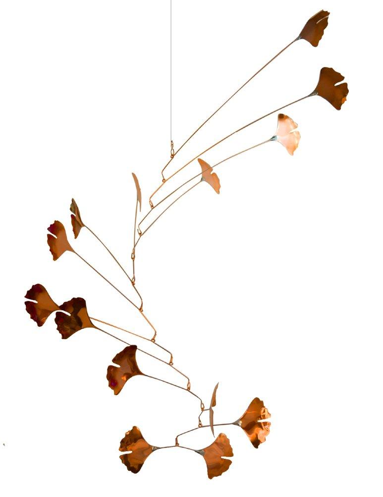 Copper Ginkgo Leaves Spinning Mobile for Indoor or Outdoor, Large 14-Leaf Version
