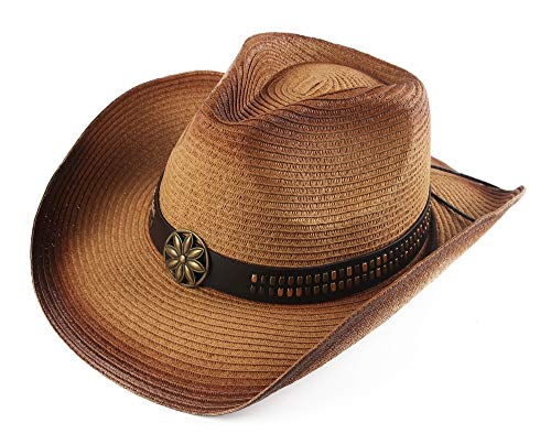 Melesh Adult Sun Straw Western Cowboy Hat Colored (Light Coffee)