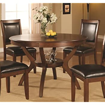 Coaster Home Furnishings Nelms Classic Modern Transitional Round Dining Table With Storage Shelf