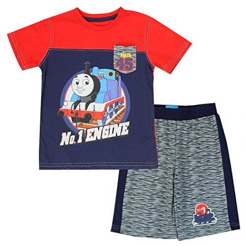 (Thomas The Train Toddler Little Boys 2-Piece Short Set, Pocket T-Shirt with French Terry Shorts (4T, Blue/Red))