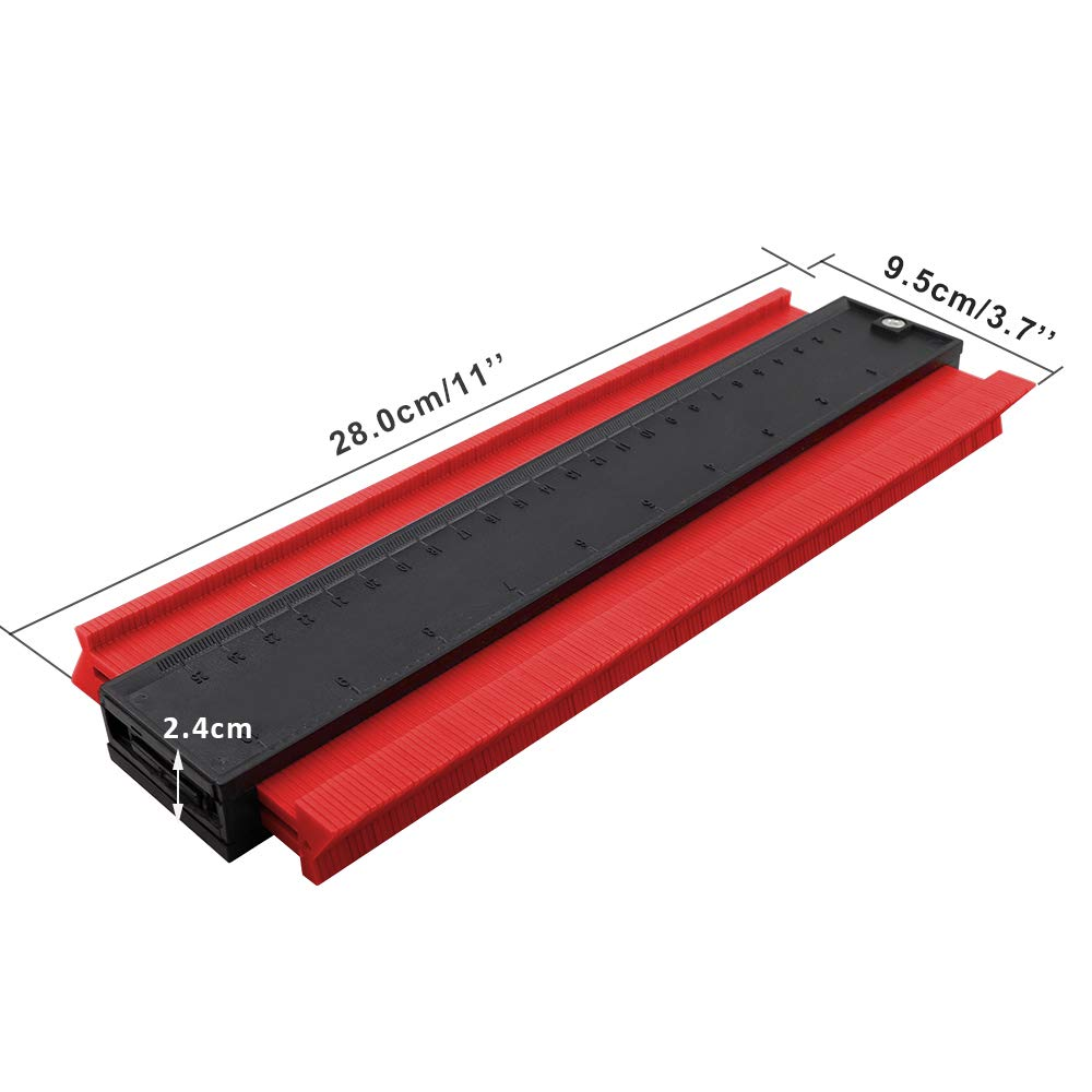 laminados Medidor de contornos Grande Ytesky Herramienta para marcar carpinter/ía Copiadora de perfiles Dispositivo de medici/ón irregular de contornos para marcos circulares baldosas madera Rojo