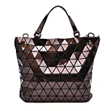 Brown Diamond Lattice Handbag for Women - Gloss Convertible Shoulder Tote Bag with Adjustable Handles - PU Leather Fashionable & Tote Bag Purse for Party, Wedding & Causal Use by Draizee
