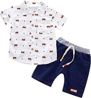 Coerni Toddler Baby Boys Clothes, Cute Shirt+Denim Shorts Outfits Set