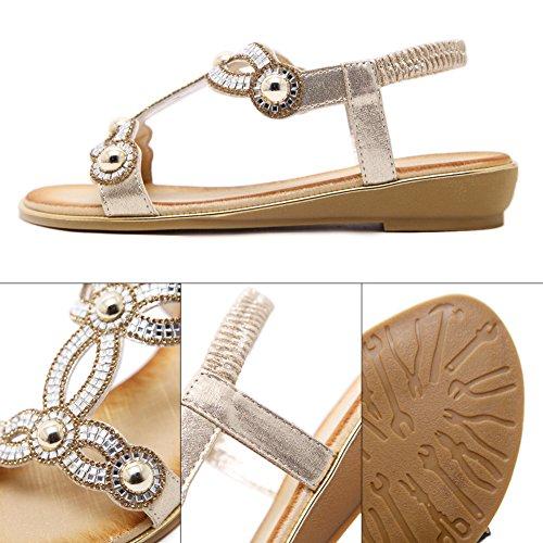 Perlée Or Strass Femme Toe Mode Sandales d'été Bohême Zicac Clip Flats pTUXvX