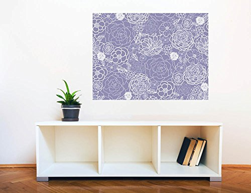 Removable Wall Sticker Wall Mural Purple Lace Flowers Seamless Pattern Creative Window View Wall Decor