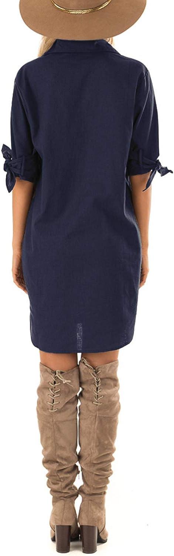 CNFIO Vestito Donna Elegante Corti Abito Camicia Mezza Manica Abito Donna Tinta Unita Vestiti Donna Colletto in Piedi
