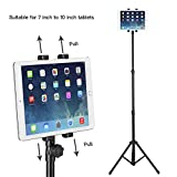 Raking Floor Height Adjustable 360 Rotating Tripod Tablet Mount Stand with Telescoping Post and Carry Case, Black (3-Section Tripod)
