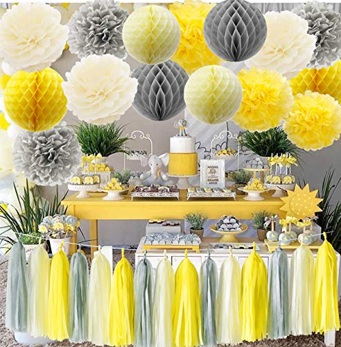Furuix You are My Sunshine Party Decoration Yellow Grey Elephant Baby Shower Decorations Tissue Paper Pom Pom Honeycomb Balls for Bridal Shower Birthday -