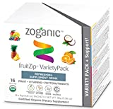 Zoganic Organic Beverage and Herbal Supplement Drink Mix for Energy and Immune Support - Variety Pack with Pineapple, Orange, Coconut and Multi Berry - 16 Powder Packets