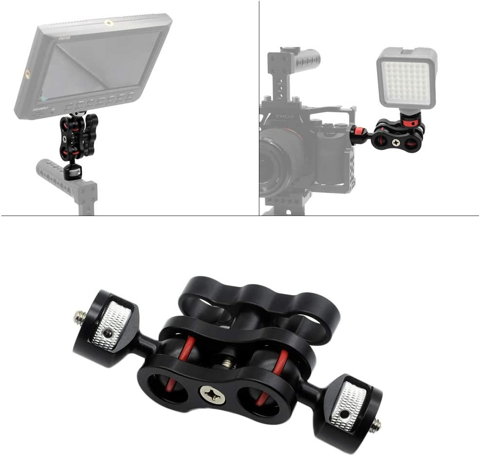 Andoer Multi-Functional Articulating Magic Arm Ball Head Arm Mount Clamp Adapter Aluminium Alloy with Double Ballheads 360/° Rotating 1//4 Inch Screw for Camera Monitor Video Light Tripods Camera Cage