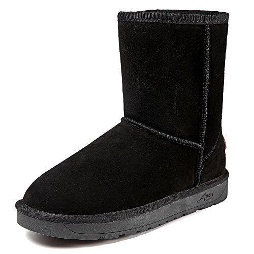 Cior Dames Suede Lederen Winter Snowboots Echt Kort Vegan Classic Black01