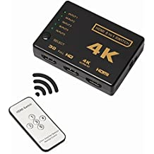 HDMI Splitter, HDMI Switch, WINONE 5-Port Intelligent High Speed HDMI Switcher Box with IR Remote 5 IN to 1 OUT Automatic Port Switching Support Full HD 4K 1080P 3D Video Player