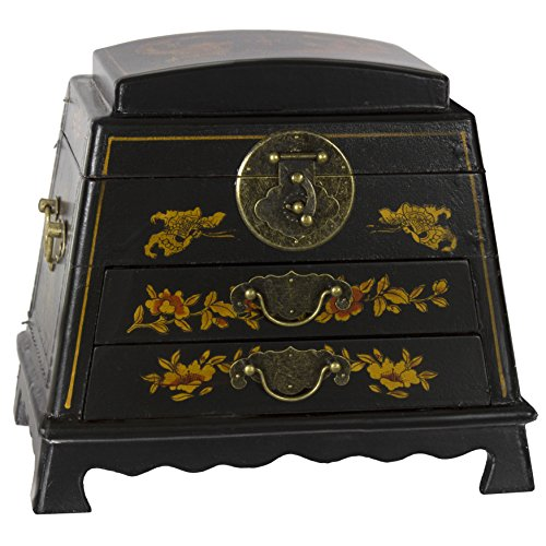 Oriental Furniture LQ-BOX6-BLK Lacquer Rounded Jewelry Box, Black (Scalloped Black Lacquer)