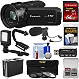 Panasonic HC-V800 Wi-Fi Full HD Video Camera Camcorder with 64GB Card + Hard Case + Stabilizer + LED Light + Mic + 3 Filters + Kit
