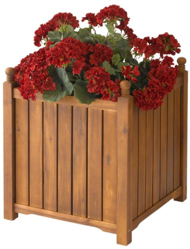 DMC Products 70417 20-Inch Lexington Square Solid Wood Planter, Teak Oil from DMC Products