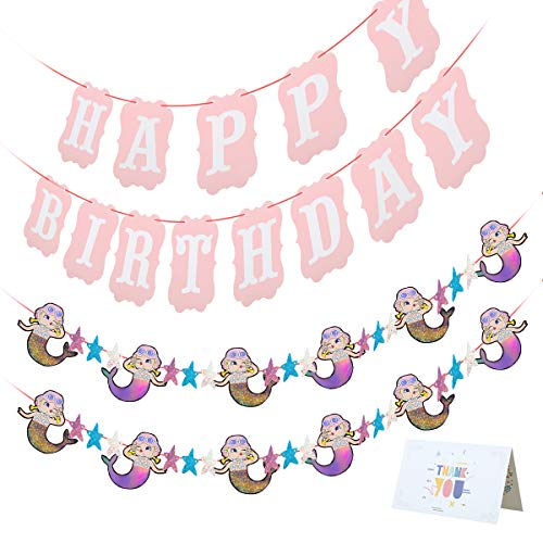 Mermaid Party Supplies Party Favors Happy Birthday Party Decorations with Birthday Banner and Bling Bling Mermaid Banner for Kids Girls Children Baby Maiden Bachelorette Women 55PCS