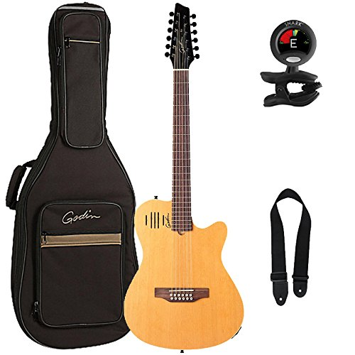 Godin A12 2-Chambered Acoustic Electric 12 String Guitar Bundle with Gig Bag, Natural