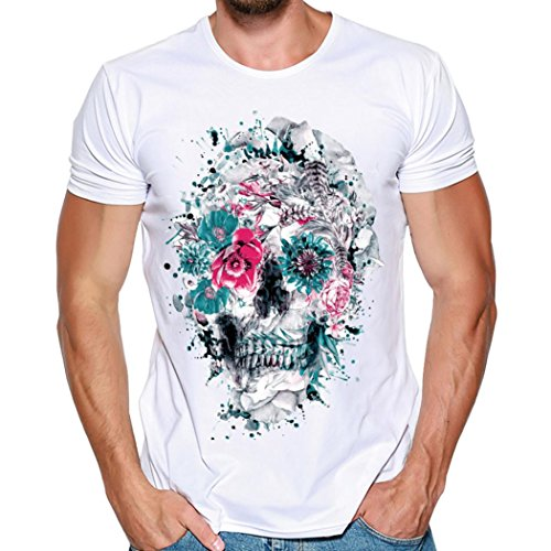 (vermers Big Promotion Mens Skull Print T Shirts Tops Fashion Casual Short Sleeve Tees Shirt Blouse(M, White))