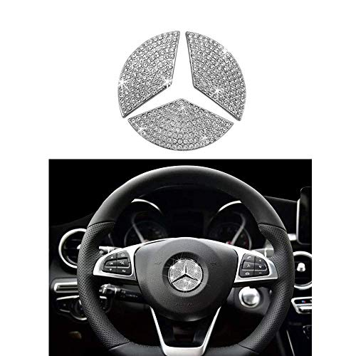 MAXMILO Steering Wheel Logo Badge Emblem Cover Sticker for Mercedes-Benz A B C E S CLA CLS GLA GLC GLE GLK GLS Class Diamond Decoration (49MM)