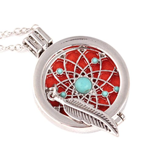 (Botrong Vintage Locket Essential Oil Diffuser Necklace and Pad Fragrance)