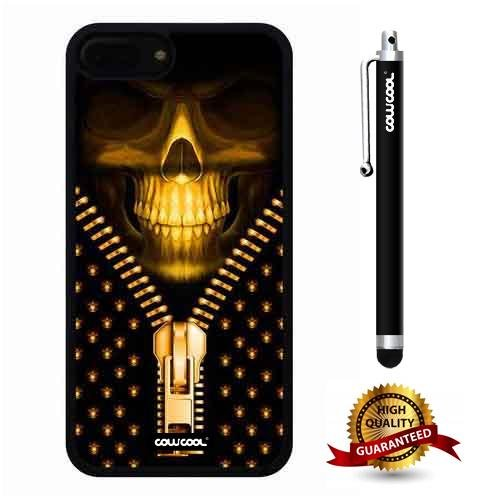 (iphone 8 Plus Case, iphone 7 Plus Case, Skull Case, Cowcool Ultra Thin Soft Silicone Case for Apple iphone 7 8 Plus - Golden Zipper Skeleton)