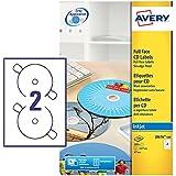 Avery J8676-100 Self-Adhesive Full Face CD Labels, 2 Labels Per A4 Sheet