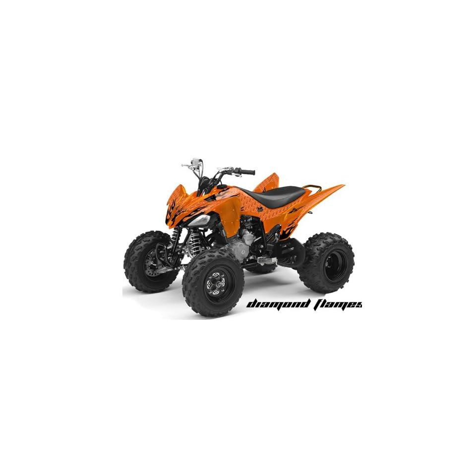 AMR Racing Yamaha Raptor 250 ATV Quad Graphic Kit   Diamond Flames Orange, B