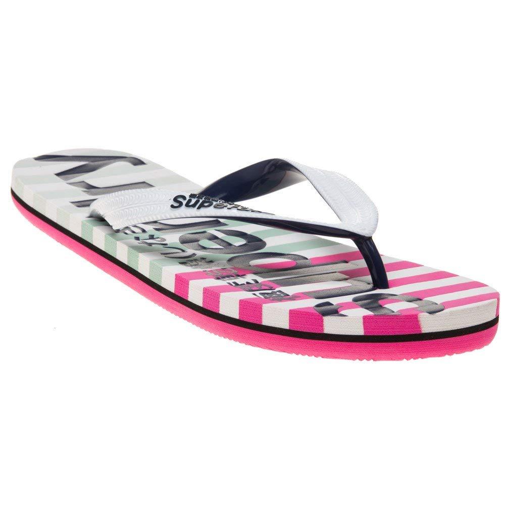 New Womens Superdry White Metallic Super Sleek Pvc Sandals Flip Flops Slip On