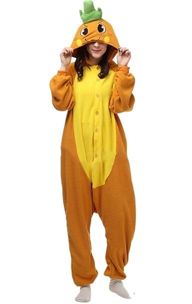 Unisex Animal Pijama Ropa de Dormir Cosplay Kigurumi Onesie Zanahoria Disfraz para Adulto Entre 1,