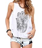 LIZHOUMIL Womens Big Hand Printed Cross Back Sleeveless T Shirt Vest Tank Tops