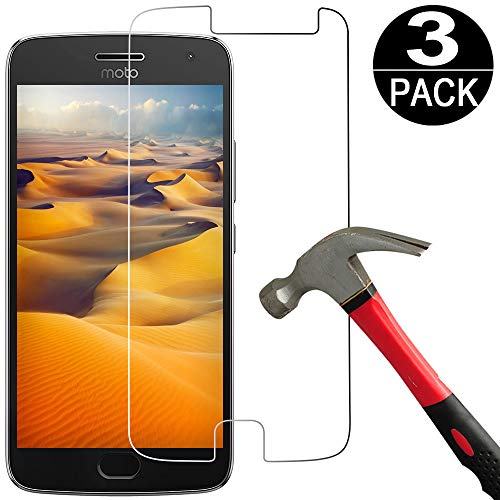 [3 Pack] Moto G5 Plus Screen Protector Tempered Glass [9H Hardness][Ultra Clear][Anti Scratch][Bubble Free] HD Clear Tempered Glass Screen Protector Film for Motorola Moto G Plus 5th Gen
