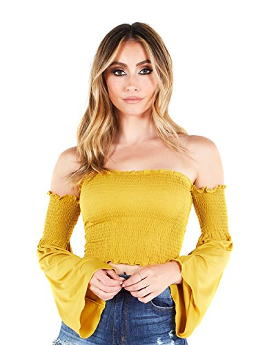 iHeartRaves Yellow Off The Shoulder Bell Sleeve Crop Top (2X-Large)