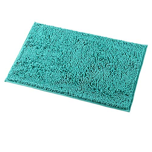 MAYSHINE 20x32 inch Non-Slip Bathroom Rug Shag Shower Mat Machine-Washable Bath mats with Water Absorbent Soft Microfibers of - Turquoise