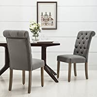 Christies Home Living Roll Top Tufted Linen Fabric Modern Urban Contemporary Dining Chair (Set of 2)