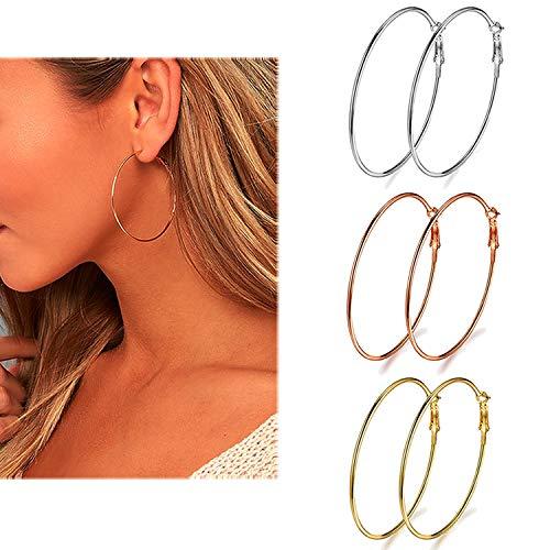 50mm Hoop - 3 Pairs Big Hoop Earrings, 50mm Stainless Steel Hoop Earrings in Gold Plated Rose Gold Plated Silver for Women Girls (50mm)