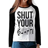 Hexu Shut Your Face Chord Womens Long Sleeve Raglan T Shirt Black XL