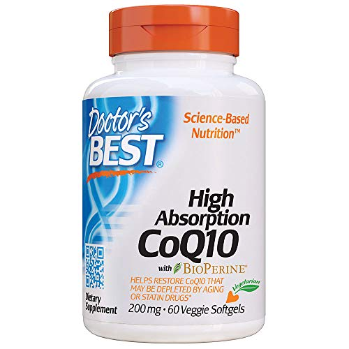 Doctor's Best High Absorption CoQ10 with BioPerine, Vegetarian, Gluten Free, Naturally Fermented, Heart Health and Energy Production, 200 mg 60 Veggie Softgels
