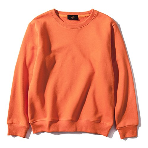 Girl Kids Crewneck Sweatshirt - Crewneck Sweatshirt,Unisex Girls Boys Solid Pullover Crewneck Sweatshirt Knitted Sportwear 100% Cotton Base one(3-9 Years),8/9T,Orange