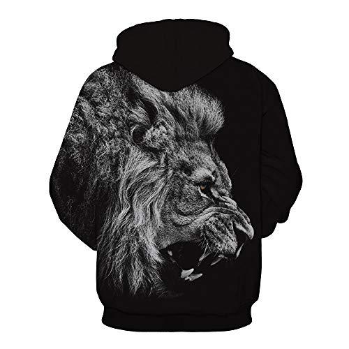 Lion Visage Veste À Homme Slim 3d Capuche Fit Imprimé Sweat Longues Hiver Luckycat Manches shirt Sweatshirt Féroce Sweat Noir Homme zIxqATZ6