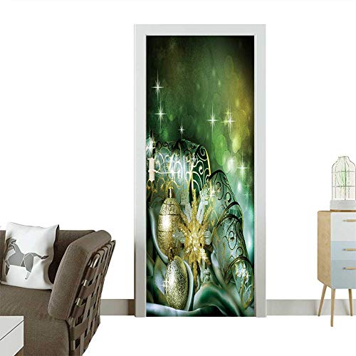 Homesonne Waterproof Decoration Door Decals Christmas Perfect Ornament W32 x H80 INCH