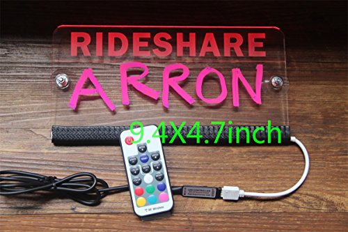 Personalized Lyft Uber Driver Rideshare Sign LED Light 9.4x4.7in. 5V 16 Colors Changed 5.5ft USB Cord Remote Acrylic Engraving