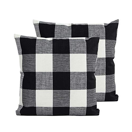 TEALP Black and White Buffalo Check Throw Pillows Cover 22x22 inch,Black and White,2 Pack