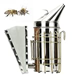 AngelaKerry Commercial Grade Bee Smoker for Beekeeping ¨C Heavy Duty Stainless Steel with Metal Heat Shield and Metal Hook ¨C Superior Airflow Bellow and Excellent Smoke Output
