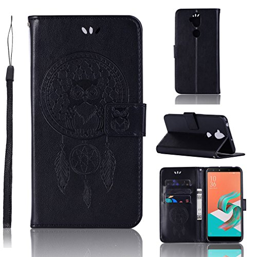 Embossed of Inch E5 Unique Magnetic Owl with Play Closure Pattern Style Motorola Moto Function Catcher Design 2 Leather LMFULM the Book Dream Protection Stent 5 and for Slot Black and Case Cover Cover PU qwI8ST