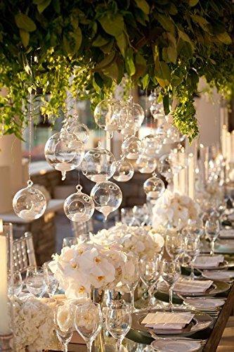 12/24PCS Wedding Hanging Tealight Holder Glass Glass Globe Candle Holder Candlestick Cristmas Decor ORB Terrarium (FREE 12/24PCS Flameless Tea Candles) (24)