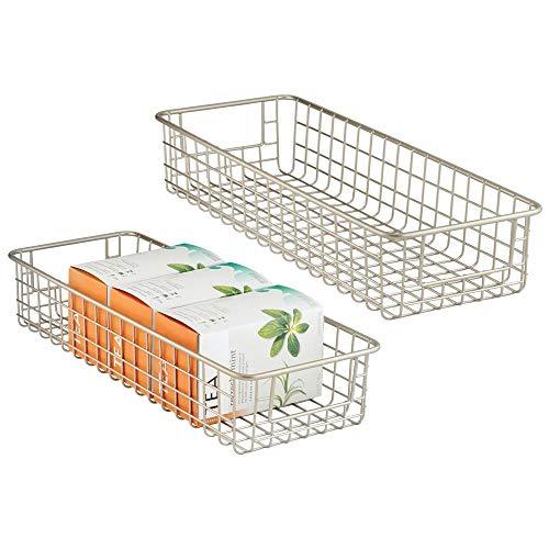 mDesign Household Wire Drawer Organizer Tray, Storage Organizer Bin Basket, Built-In Handles - for Kitchen Cabinets, Drawers, Pantry, Closet, Bedroom, Bathroom - 16 x 6 x 3 - 2 Pack - Satin